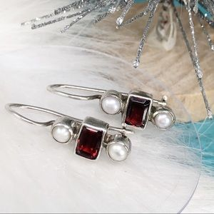 Sterling Garnet Pearl Drop Dangle Hook Earrings